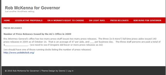 Rob McKenna For Governor Press Release Tab