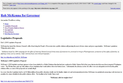 Text only screen shot - Legislative Proposals