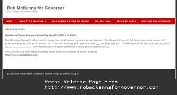 "Screen Shot of ""Press Release"" Tab robmckennaforgovernor.com 03/03/10"