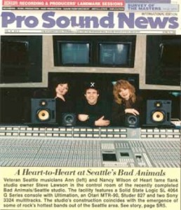 Ann Wilson, Steve Lawson and Nancy Wilson profiled in Pro Sound News introducing Bad Animals/Seattle