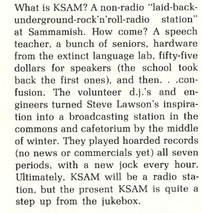 Article from Sammamish High School Annual about the founding of KSAM Radio and Steve Lawson's involvement.