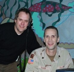 Steve Lawson backstage with soldier Justin Tucker.  Steve was able to bring Tucker back from Iraq for a surprise Christmas reunion with his wife on the first CNW TV Special.