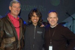 Steve Lawson poses with American Idol sensation Sanjaya (center) and Karl Leaverton, President of RBC Wealth Management, the Christmas in the NW Title Sponsor