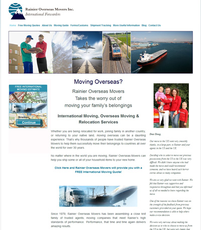 Friendly Voice created a new SEO friendly website for Rainier Overseas Movers