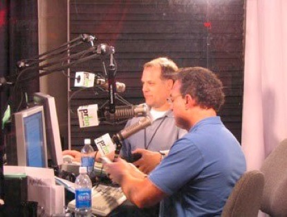 Mike West (front) and Steve Lawson (back) broadcast in Orlando for Microsoft MGX